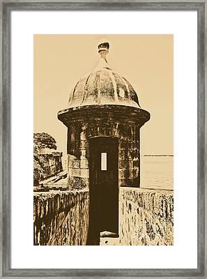 Entrance To Sentry Tower Castillo San Felipe Del Morro Fortress San Juan Puerto Rico Rustic Framed Print by Shawn O'Brien