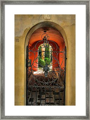 Entrance To Stucco Home Framed Print