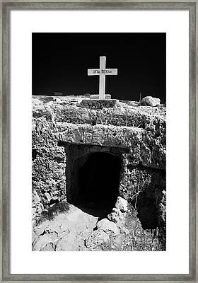 Entrance To The Underground Old Church At Ayia Thekla Republic Of Cyprus Europ Framed Print