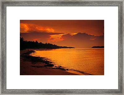 Epic Sunset In The Tropical Maldivian Island Framed Print