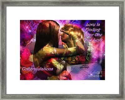 Equal Marriage Framed Print by Carmen Waterman
