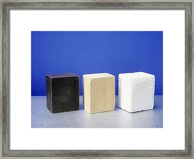 Equal Volumes Of Different Materials Framed Print by Andrew Lambert Photography