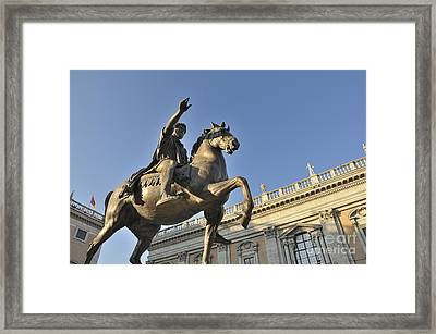 Equestrain Statue Of Emperor Marcus Aurelius In Piazza Del Campidoglio.capitoline Hill. Rome. Italy. Framed Print by Bernard Jaubert