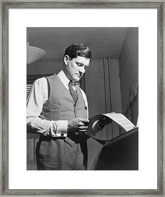 Eric Sevareid 1912-1992, Reads Document Framed Print