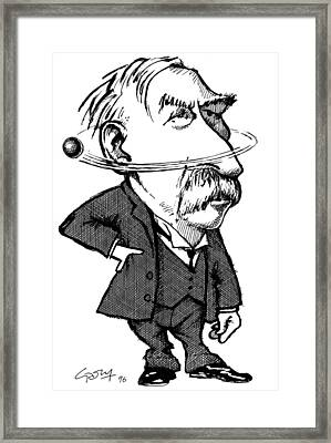 Ernest Rutherford, Caricature Framed Print by Gary Brown