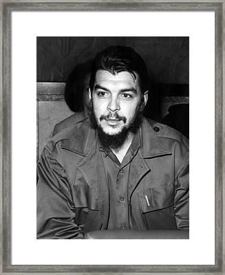Ernesto Che Guevara Steps Off A Plane Framed Print by Everett