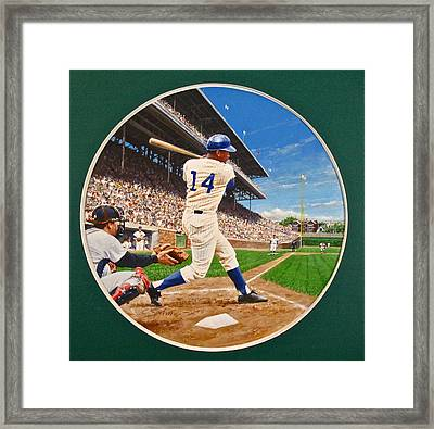 Framed Print featuring the painting Ernie Banks by Cliff Spohn