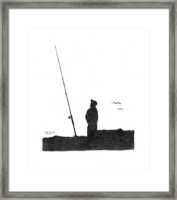 Ernie Fishing Framed Print