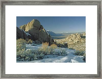 Eroded Granite Boulders Overlook Owens Framed Print