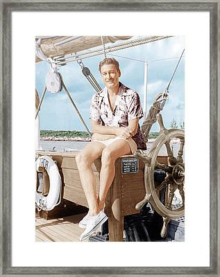 Errol Flynn Relaxing On His Yacht, Ca Framed Print by Everett