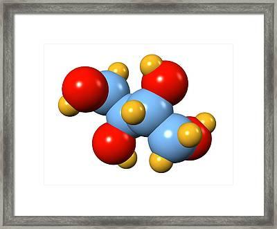 Erythritol Sugar Alcohol Molecule Framed Print by Dr Mark J. Winter