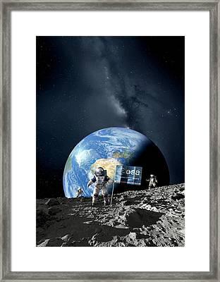 Esa Lunar Exploration, Artwork Framed Print by Detlev Van Ravenswaay