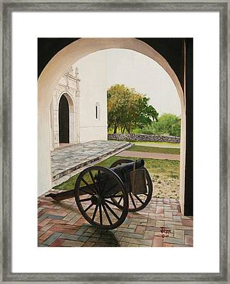 Framed Print featuring the painting Espiritu Santo Mission Cannon by Jimmie Bartlett