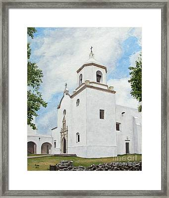 Framed Print featuring the painting Espiritu Santo Mission by Jimmie Bartlett