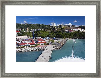 Esplanade Area From Cruise Ship At Wharf Framed Print by Richard Cummins