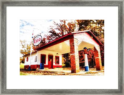 Framed Print featuring the painting Esso Filling Station by Lynne Jenkins