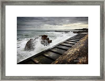 Estoril Coastline Framed Print by Carlos Caetano