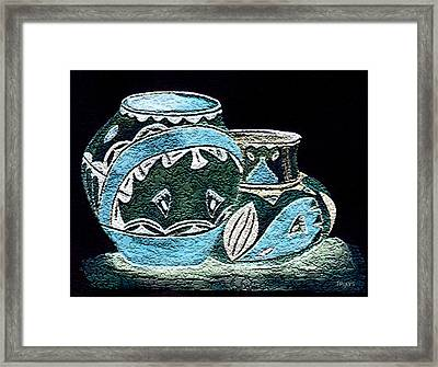 Framed Print featuring the painting Etched Pottery by Paula Ayers