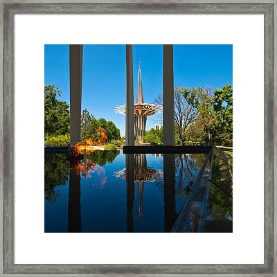 Eternal Flame Fountain Framed Print by David Waldo