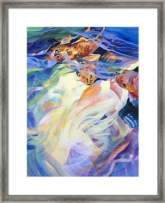 Framed Print featuring the painting Ethereal Koi 1 by Rae Andrews