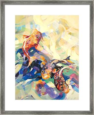 Framed Print featuring the painting Ethereal Koi 3 by Rae Andrews