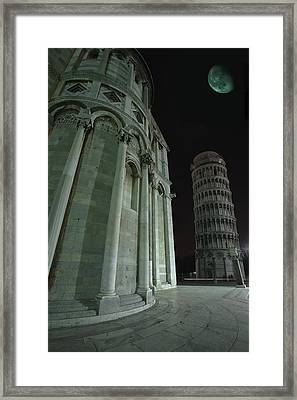 Ethereal Moonlight Scene Of Duomo Santa Framed Print by Carson Ganci