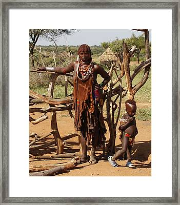 Ethiopia-south Mother And Baby No.2 Detail B Framed Print by Robert SORENSEN