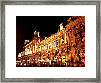 Europe At Night Framed Print by Lucy D