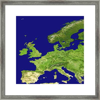 Europe, Satellite Image Framed Print