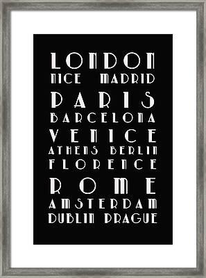 European Cities - Bus Roll Framed Print by Georgia Fowler