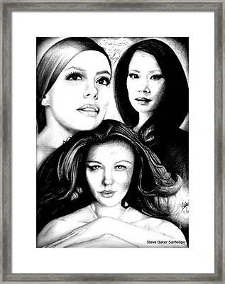 Eva Longoria Lucy Lui And Catherine Zeta Jones Framed Print