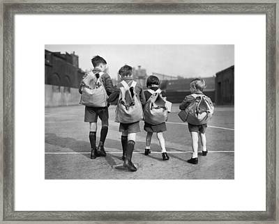 Evacuation Rehearsal Framed Print by Topical Press Agency