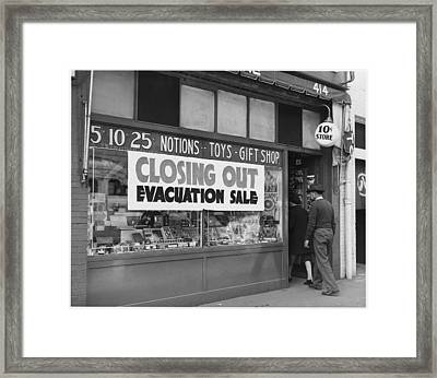 Evacuation Sale Sign Framed Print