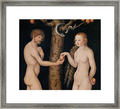 Eve Offering The Apple To Adam In The Garden Of Eden Framed Print by The Elder Lucas Cranach
