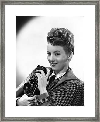 Evelyn Keyes, With A Rolex Camera, Ca Framed Print