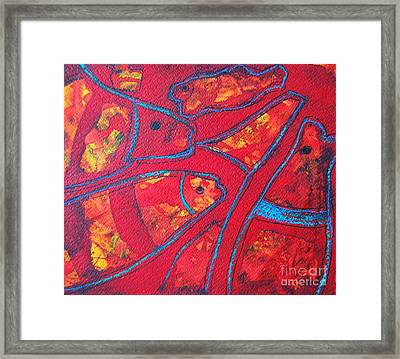 Even Fishes Love Red Framed Print by Ana Maria Edulescu