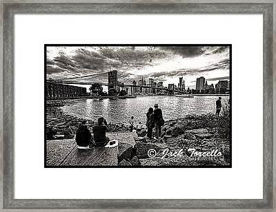 Framed Print featuring the photograph Evening At Brooklyn Bridge by Jack Torcello