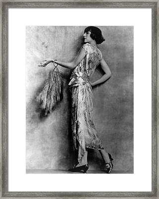 Evening Gown Of Brocaded Satin Framed Print