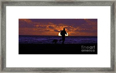Framed Print featuring the photograph Evening Run On The Beach by Clayton Bruster