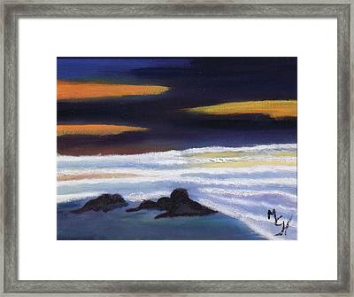 Framed Print featuring the painting Evening Sunset On Beach by Margaret Harmon