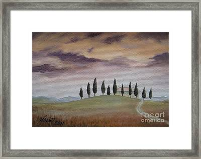 Framed Print featuring the painting Evening Tuscany by Jindra Noewi