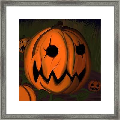 Evil Pumpkin Vine Framed Print by Andre Carrion