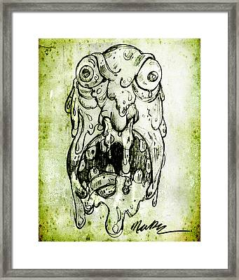 Framed Print featuring the drawing Evil Snot Monster by Nada Meeks