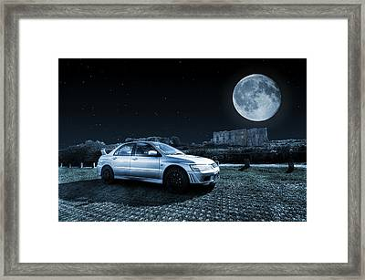 Framed Print featuring the photograph Evo 7 At Night by Steve Purnell