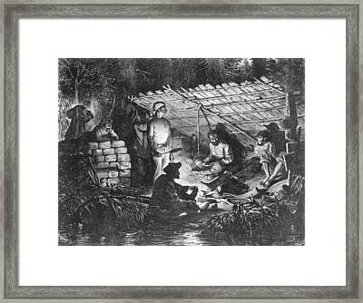 Ex-slaves Hiding In The Swamps Framed Print by Everett