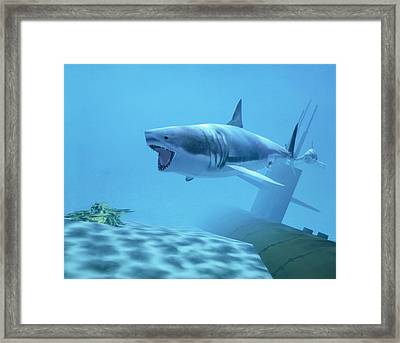Example Of Reality Centre Graphics, Shark Framed Print by David Parker
