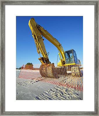 Excavator On The Beach Framed Print by Skip Nall