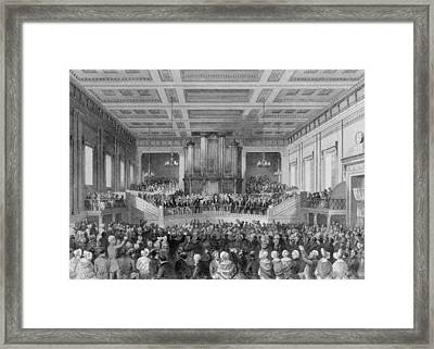 Exeter Hall Filled With A Large Crowd Framed Print by Everett