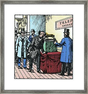 Exhibition Of Bell's Telephone, 1876 Framed Print by Cci Archives
