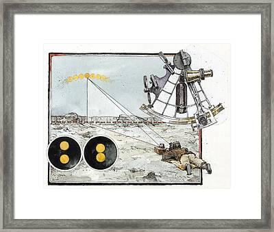 Explorer Robert E. Peary Uses The Sun Framed Print